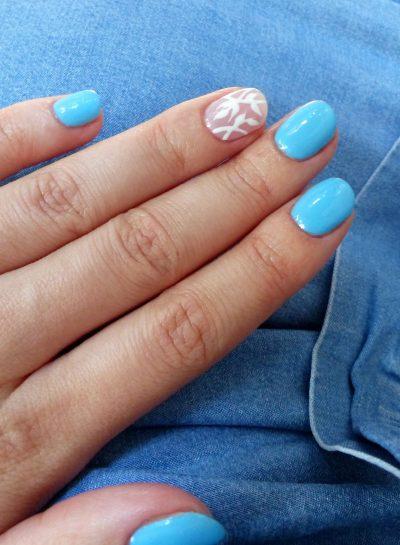 VSP/Gel : Bleu océan et feuilles blanches